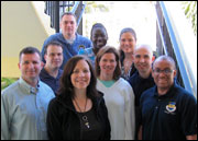 Gathered at the first-ever retreat for UU military chaplains in February 2011 were: (from left, front row) Seanan Holland, Bret Lortie, Sarah Lammert, Cynthia Kane, Chris Antal, and Xolani Kacela; (back row) David Pyle, Azande Sasa, and Rebekah Montgomery.