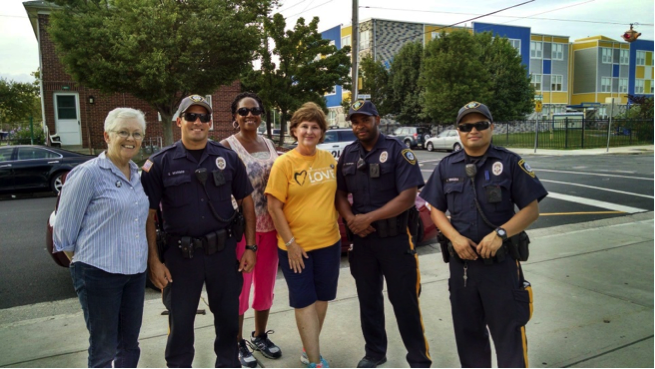 Task Force members & Rev. Cain with Atlantic City officers on weekly walks through the neighborhoods of AC. We have joined the ACPD & community organizers all summer.