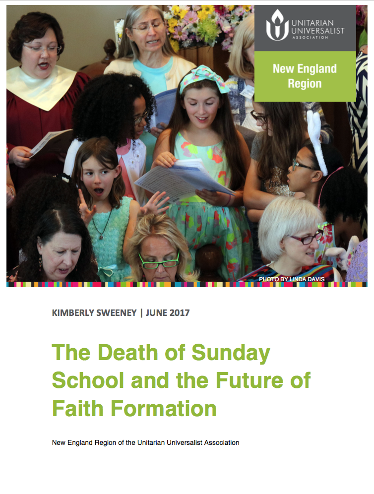 "Cover page of report ""The Death of Sunday School and the Future of Faith Formation,"" with a picture of a multigenerational chorus of women with young girls at center"