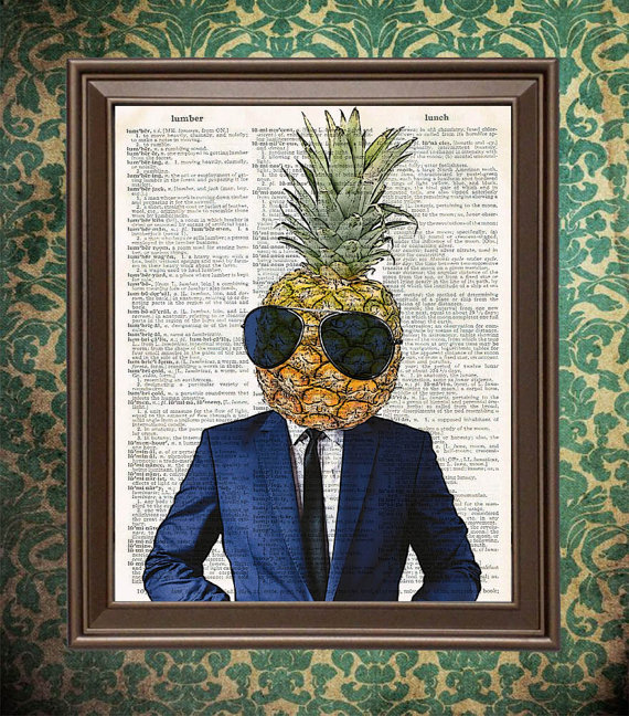 "Framed vintage dictionary page with a color print overlay: a ""coolguy"" wearing a blue suit with a pineapple for a head, wearing aviator sunglasses"